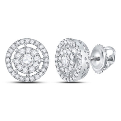 14kt White Gold Womens Round Diamond Cluster Earrings 1 Cttw