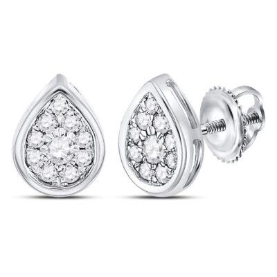 14kt White Gold Womens Round Diamond Teardrop Stud Earrings 1/4 Cttw