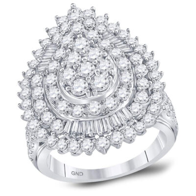 14kt White Gold Womens Round Diamond Teardrop Pear Cluster Ring 3 Cttw