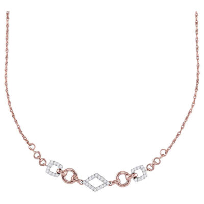 14kt Rose Gold Womens Round Diamond Geometric Fashion Necklace 1/5 Cttw