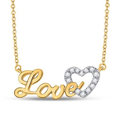 10kt Yellow Gold Womens Round Diamond Heart Love Pendant Necklace 1/6 Cttw