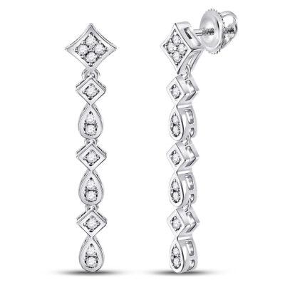 14kt White Gold Womens Round Diamond Square Teardrop Dangle Earrings 1/5 Cttw