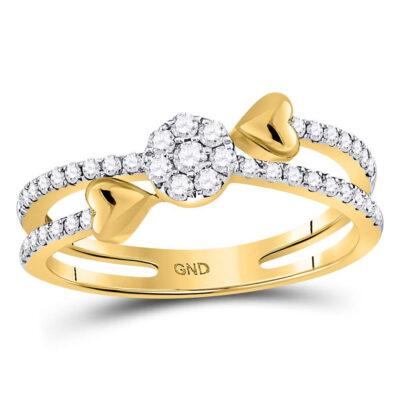 14kt Yellow Gold Womens Round Diamond Fashion Heart Ring 1/3 Cttw
