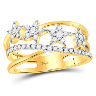 14kt Yellow Gold Womens Round Diamond Fashion Crossover Star Ring 3/8 Cttw