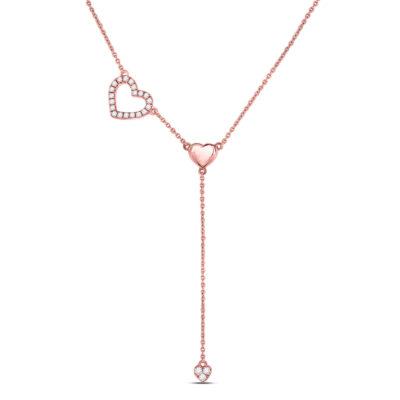 14kt Rose Gold Womens Round Diamond Heart Drop Pendant Necklace 1/6 Cttw