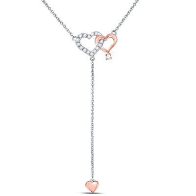 14kt Two-tone Gold Womens Round Diamond Y Shape Heart Necklace 1/8 Cttw