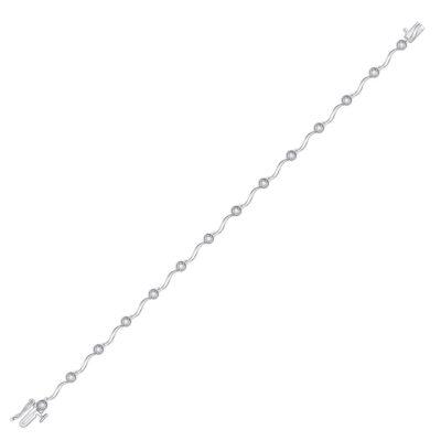 10kt White Gold Womens Round Diamond Fashion Bracelet 1/4 Cttw