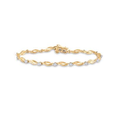 10kt Yellow Gold Womens Round Diamond Twist Link Bracelet 1/4 Cttw