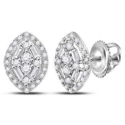 14kt White Gold Womens Round Baguette Diamond Oval Cluster Earrings 1/3 Cttw