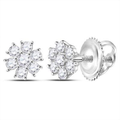 14kt White Gold Womens Round Diamond Flower Cluster Burst Earrings 1/8 Cttw