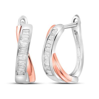 10kt Two-tone Gold Womens Baguette Diamond Hoop Earrings 1/3 Cttw
