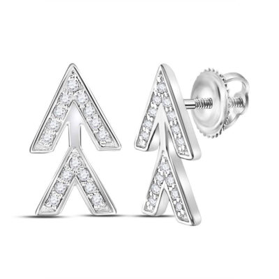 14kt White Gold Womens Round Diamond Fashion Earrings 1/10 Cttw