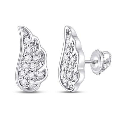 14kt White Gold Womens Round Diamond Angel Wing Stud Earrings 1/20 Cttw