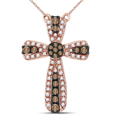 14kt Rose Gold Womens Round Brown Diamond Cross Necklace 1/3 Cttw