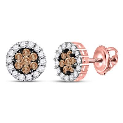 14kt Rose Gold Womens Round Brown Diamond Flower Cluster Earrings 1 Cttw