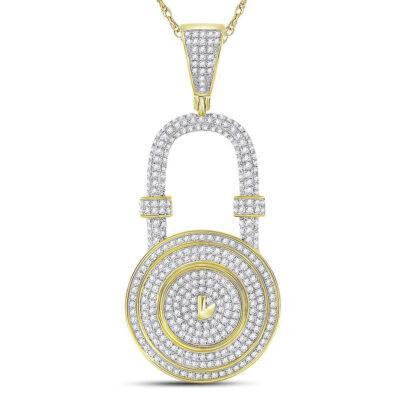 10kt Yellow Gold Mens Round Diamond Bank Padlock Charm Pendant 7/8 Cttw