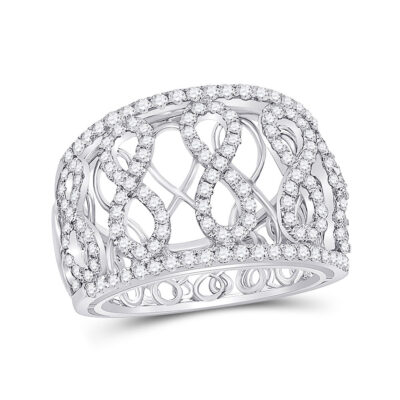 14kt White Gold Womens Round Diamond Fashion Infinity Band Ring 7/8 Cttw