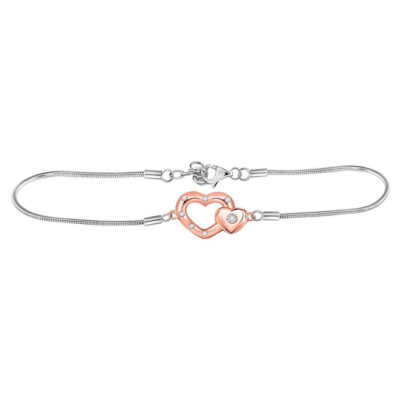 Sterling Silver Womens Round Diamond Double Heart Fashion Bracelet 1/20 Cttw