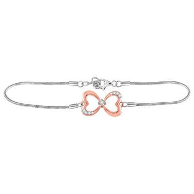 Sterling Silver Womens Round Diamond Infinity Heart Fashion Bracelet 1/20 Cttw