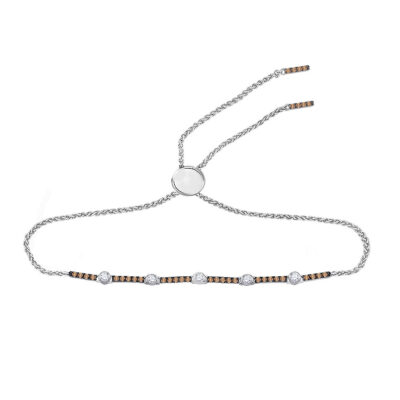 14kt Yellow Gold Womens Round Brown Diamond Bolo Bracelet 1/2 Cttw