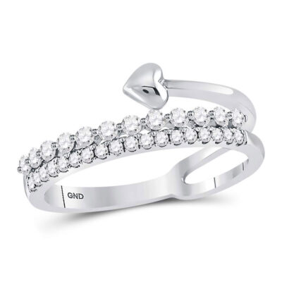 14kt White Gold Womens Round Diamond Fashion Heart Ring 3/8 Cttw
