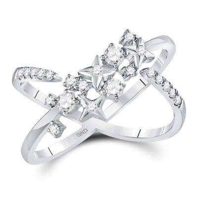 14kt White Gold Womens Round Diamond Fashion Starburst Band Ring 3/8 Cttw