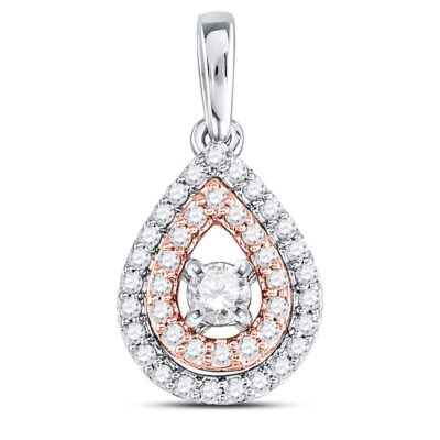 10kt Two-tone Gold Womens Round Diamond Teardrop Solitaire Pendant 1/4 Cttw