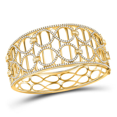 14kt Yellow Gold Womens Round Diamond Cocktail Bracelet 4 Cttw