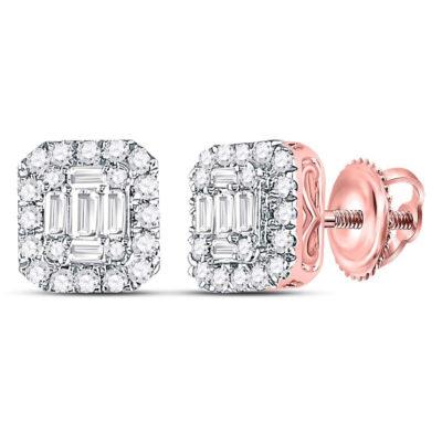 14kt Rose Gold Womens Baguette Diamond Square Cluster Earrings 1/2 Cttw