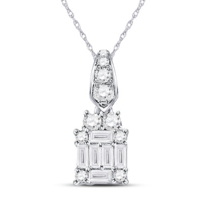 14kt White Gold Womens Baguette Diamond Fashion Cluster Pendant 1/3 Cttw