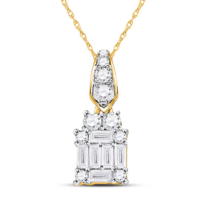 14kt Yellow Gold Womens Baguette Diamond Square Cluster Pendant 1/3 Cttw