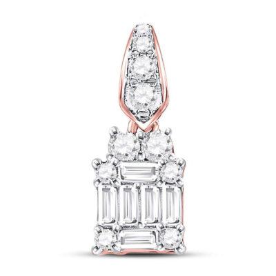 14kt Rose Gold Womens Baguette Diamond Square Cluster Pendant 1/3 Cttw