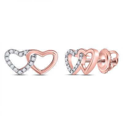 10kt Rose Gold Womens Round Diamond Heart Earrings 1/12 Cttw