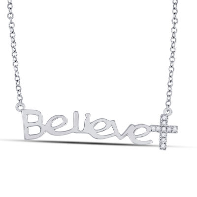 10kt White Gold Womens Round Diamond Believe Cross Necklace 1/20 Cttw