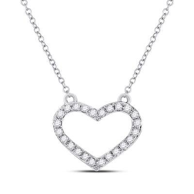 10kt White Gold Womens Round Diamond Heart Necklace 1/6 Cttw