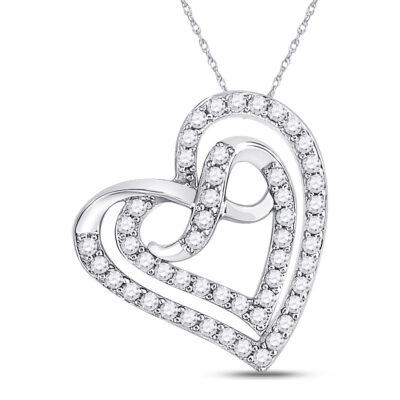 10kt White Gold Womens Round Diamond Infinity Heart Pendant 1/3 Cttw