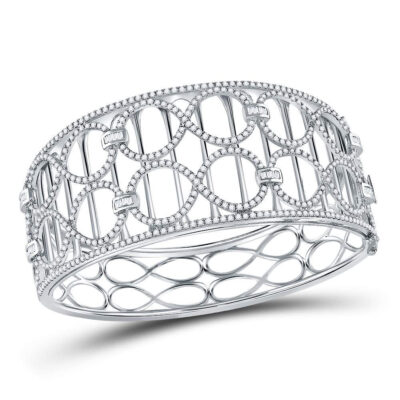14kt White Gold Womens Round Diamond Fashion Cocktail Bracelet 4 Cttw