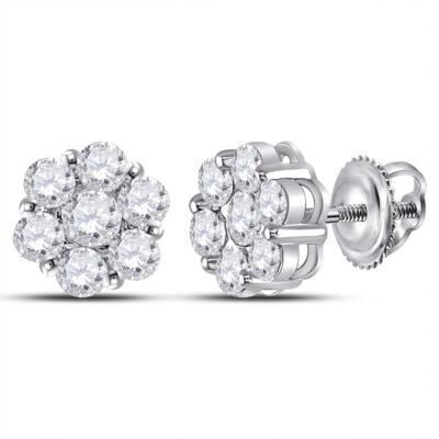 14kt White Gold Womens Round Diamond Flower Cluster Earrings 2 Cttw