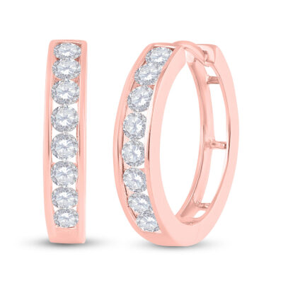 10kt Rose Gold Womens Round Diamond Hoop Earrings 1 Cttw