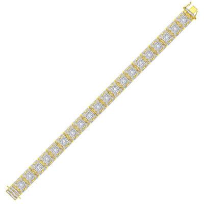 10kt Yellow Gold Mens Round Diamond Cluster Link Bracelet 10-3/4 Cttw
