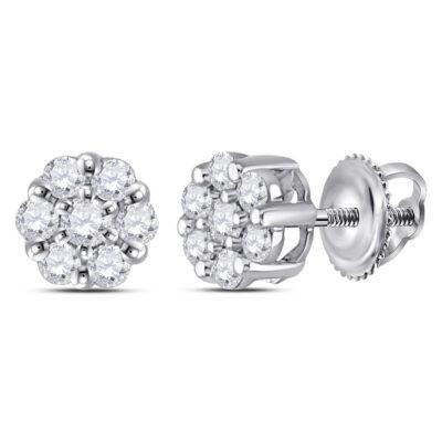14kt White Gold Womens Round Diamond Flower Cluster Earrings 1/4 Cttw