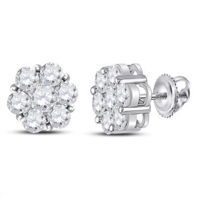 14kt White Gold Womens Round Diamond Flower Cluster Earrings 2-1/2 Cttw