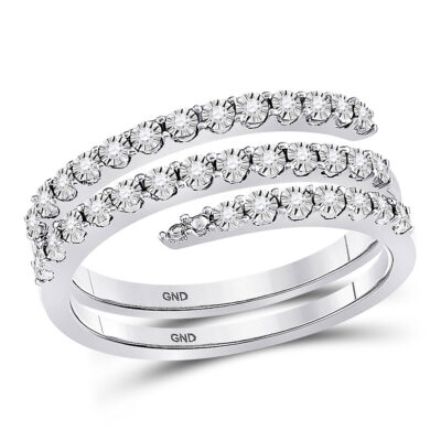 Sterling Silver Womens Round Diamond Spiral Band Ring 1/10 Cttw