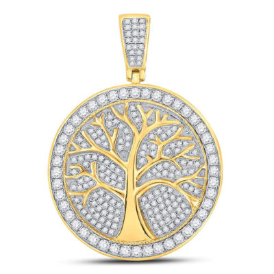 10kt Yellow Gold Mens Round Diamond Tree of Life Medallion Charm Pendant 1-1/4 Cttw