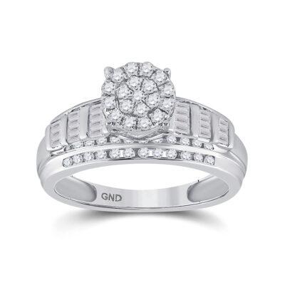 10kt White Gold Round Diamond Cluster Bridal Wedding Engagement Ring 1/2 Cttw Size 9