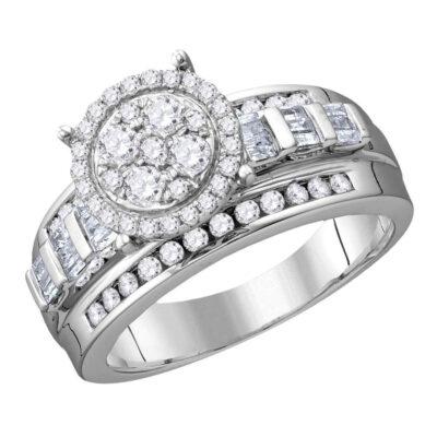 10kt White Gold Round Diamond Cluster Bridal Wedding Engagement Ring 1/2 Cttw Size 10