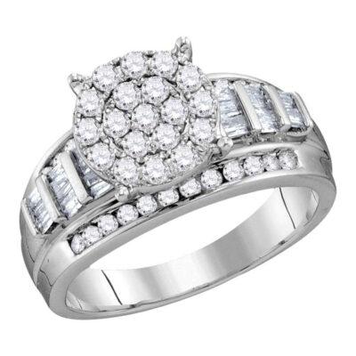 10kt White Gold Round Diamond Cluster Bridal Wedding Engagement Ring 2 Cttw Size 5