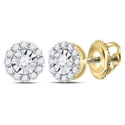 14kt Yellow Gold Womens Round Diamond Halo Earrings 1/2 Cttw