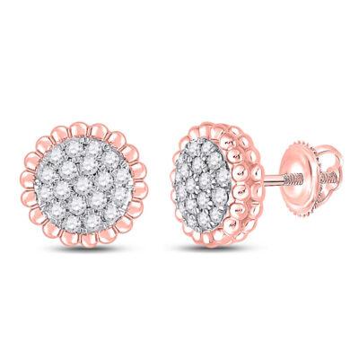 10kt Rose Gold Womens Round Diamond Flower Cluster Earrings 1/4 Cttw