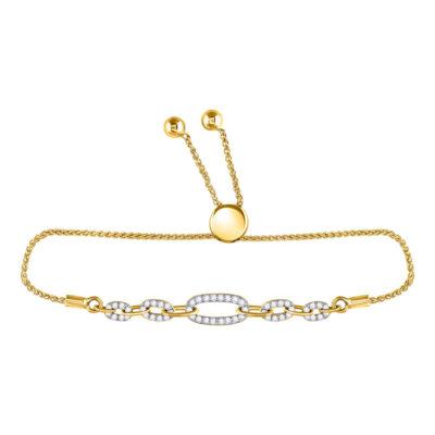 10kt Yellow Gold Womens Round Diamond Oval Link Bolo Bracelet 1/3 Cttw